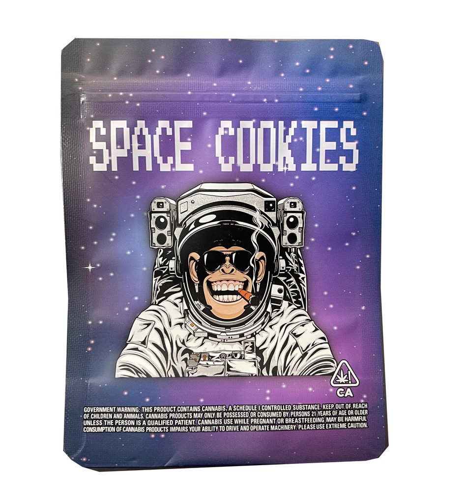 Mylar Bag 3.5g Space Cookies Smell Proof Resealable Packaging Heat Seal Zipper Storage Bags 3.5 Gram