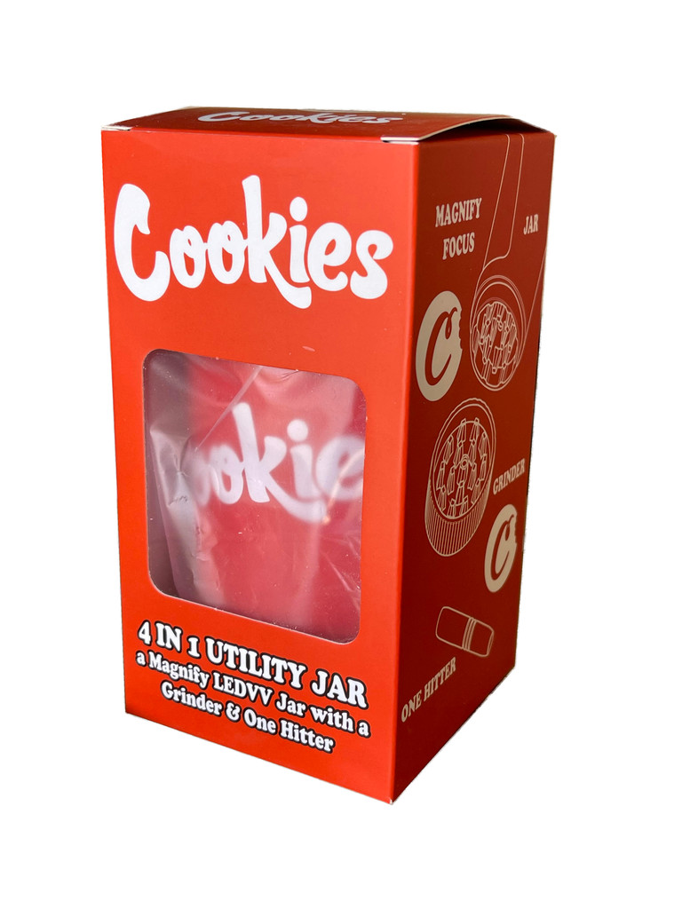COOKIES MAG JAR WITH GRINDER AND ONE HITTER- AIRTIGHT STORAGE STASH CONTAINER LED MAGNIFYING JARS (Red)