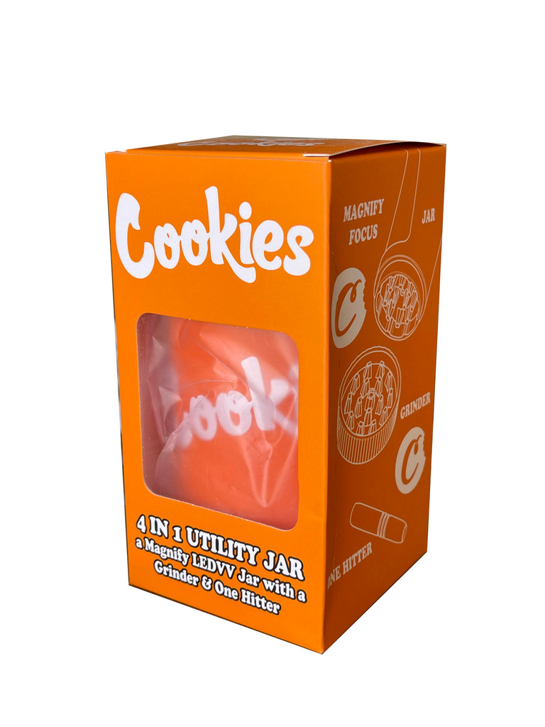 COOKIES MAG JAR WITH GRINDER AND ONE HITTER- AIRTIGHT STORAGE STASH CONTAINER LED MAGNIFYING JARS (Orange)