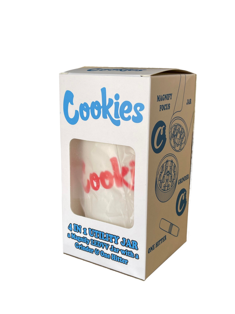 COOKIES MAG JAR WITH GRINDER AND ONE HITTER- AIRTIGHT STORAGE STASH CONTAINER LED MAGNIFYING JARS (White)