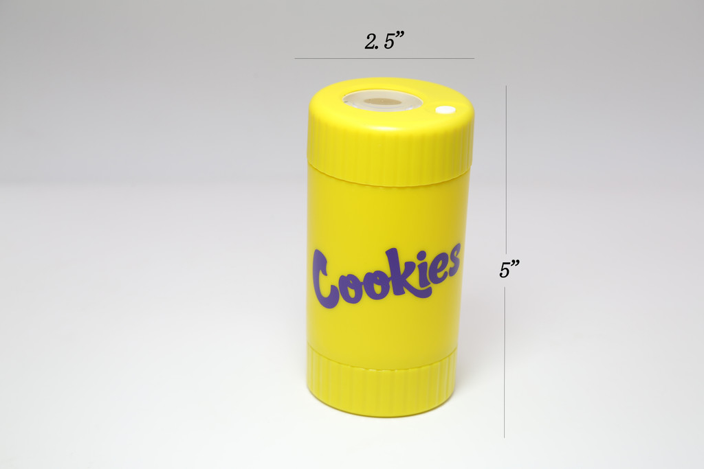 COOKIES MAG JAR WITH GRINDER AND ONE HITTER- AIRTIGHT STORAGE STASH CONTAINER LED MAGNIFYING JARS (Yellow)