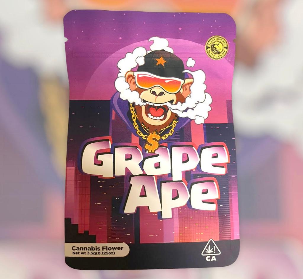 Black Unicorn -Grape Ape Mylar bag 3.5g  For Flower  (FREE SHIPPING)