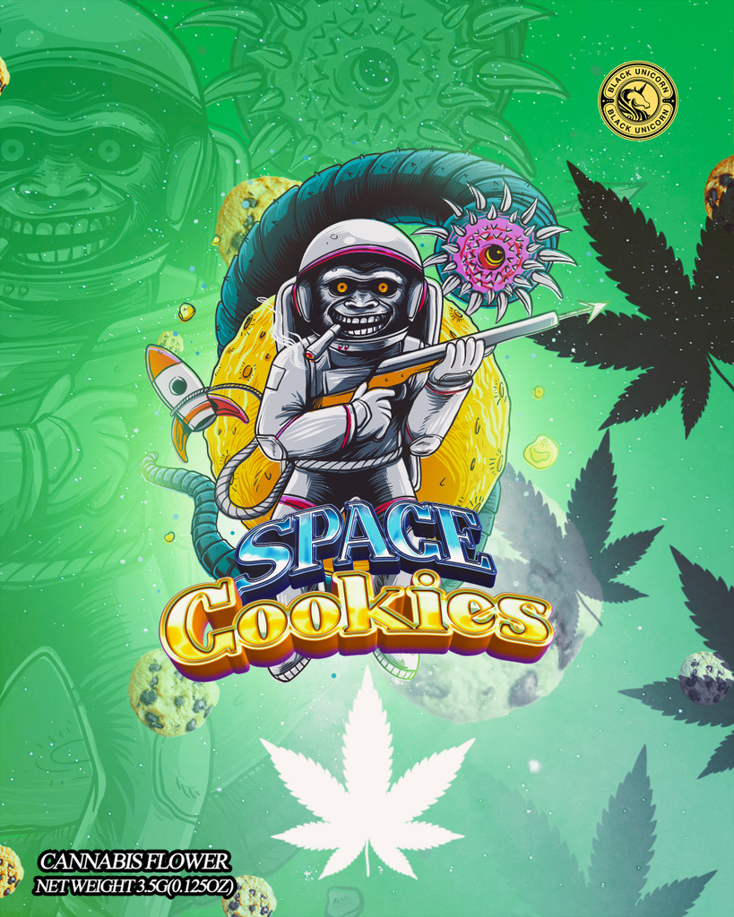 Black Unicorn - Space Cookies Mylar bag 3.5g  For Flower  (FREE SHIPPING)