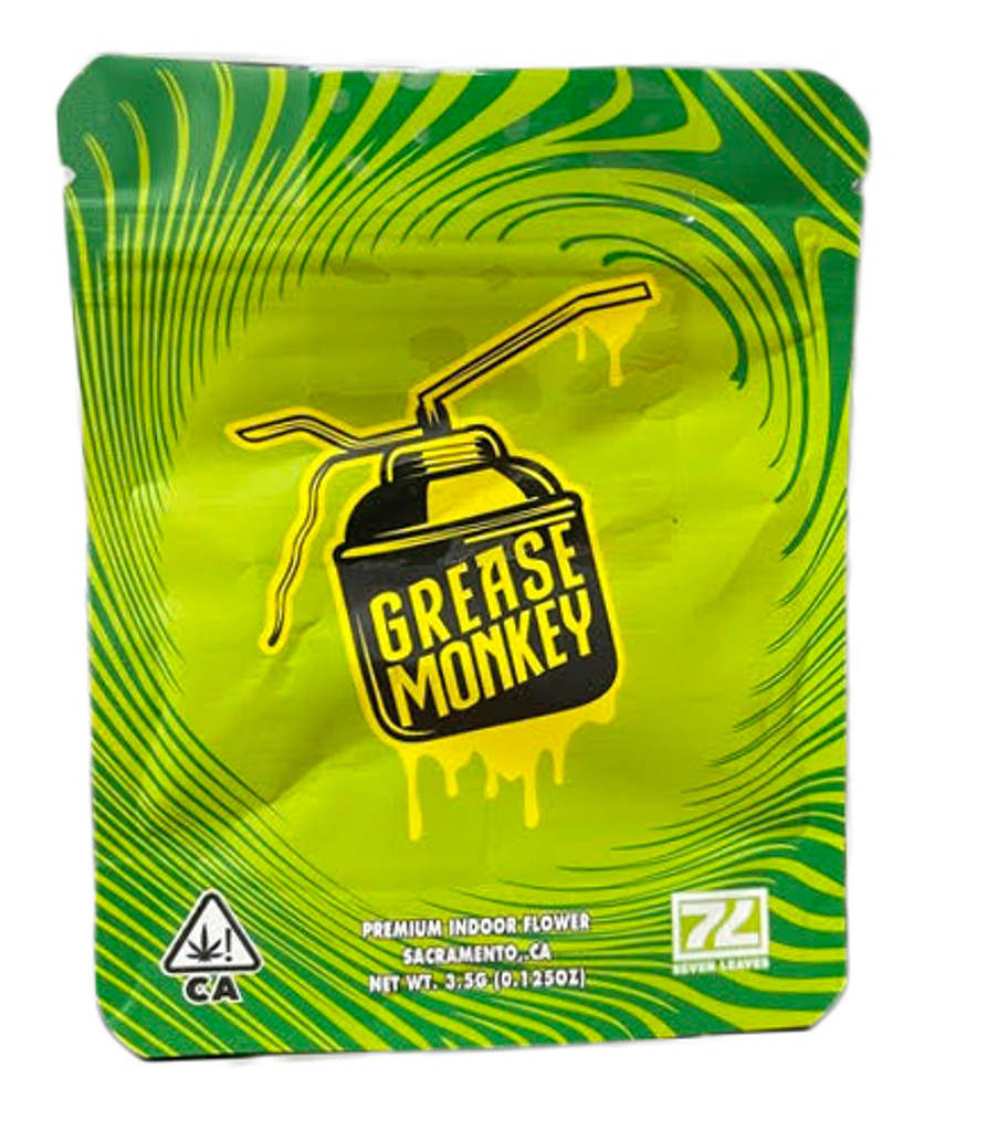 Seven Leaves Grease Monkey Mylar bag 3.5g Smell Proof Airtight Mylar Bag- Packaging Only