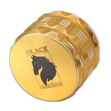 "Black Unicorn Best Herb Grinder with Pollen Catcher. Large 4 Piece, 2.5"" Aluminum (Gold)"