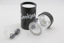 COOKIES MAG JAR WITH GRINDER AND ONE HITTER- AIRTIGHT STORAGE STASH CONTAINER LED MAGNIFYING JARS (Black)