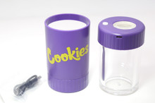 COOKIES MAG JAR WITH GRINDER AND ONE HITTER- AIRTIGHT STORAGE STASH CONTAINER LED MAGNIFYING JARS (Purple)