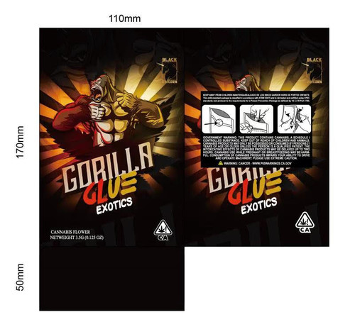Black Unicorn -Gorilla Glue Exotics  Mylar bag 3.5g  For Flower (FREE SHIPPING)