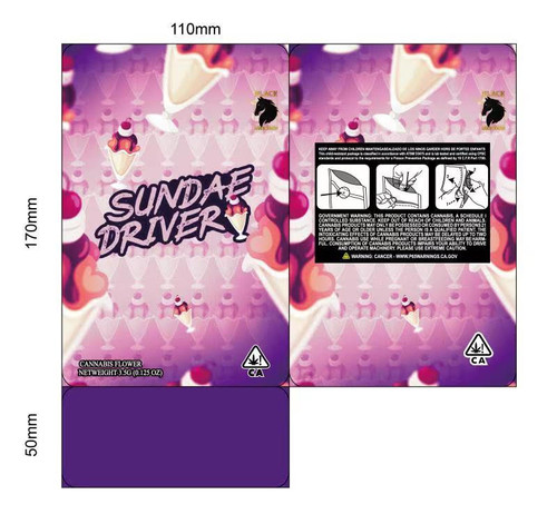Black Unicorn - Sundae Driver  Mylar bag 3.5g  For Flower  (FREE SHIPPING)