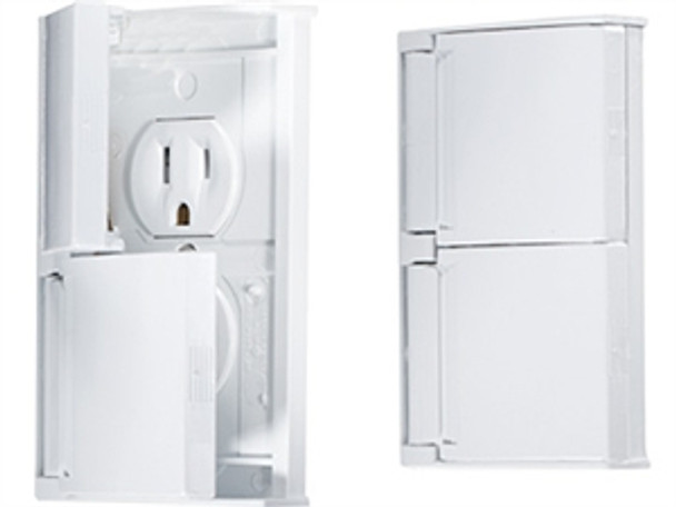 RV Designer AC Weatherproof Dual Receptacle W/ Snap Cover Plate, White