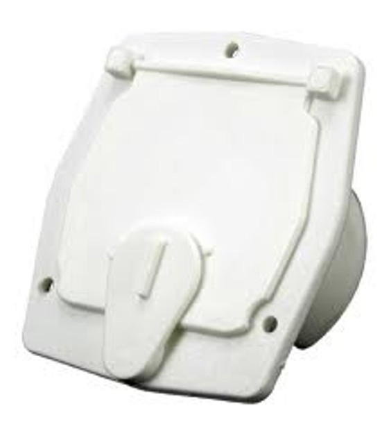 JR Products RV Power Cord Square Cable Hatch, Polar White