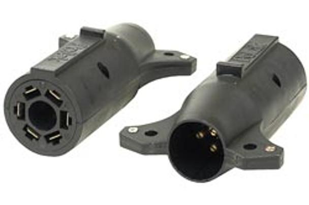 Pollak RV 7-Way To 6-Way Trailer Adapter, Center Brake Pin