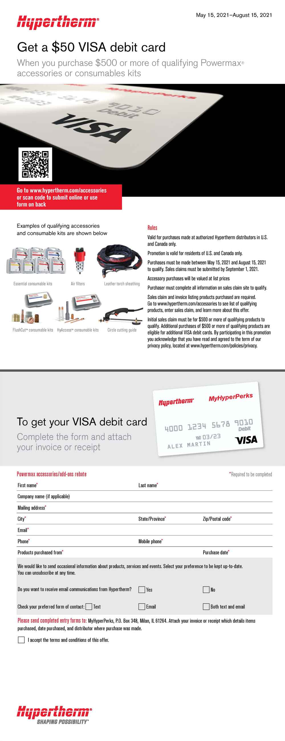 Get a $50 Debit Card when you purchase $500 or more of qualifying Powermax accessories or consumable kits