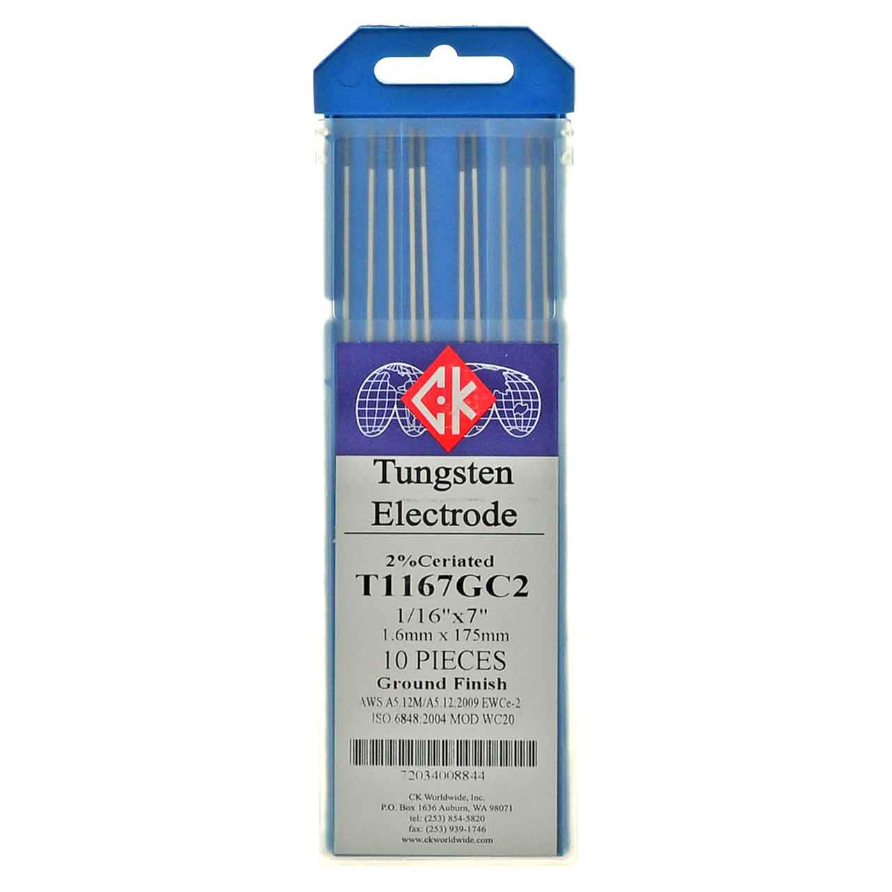 "2/% Ceriated 1//8/"" X 7/""Grey WC20 10-Pack TIG Welding Tungsten Electrodes"