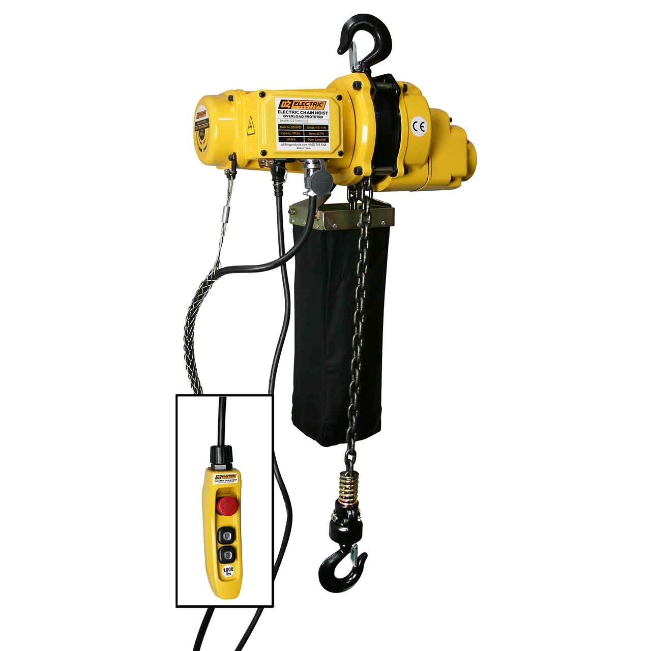 Oz Electric Chain Hoist  Load Capacity  5 Ton  1000 Lbs