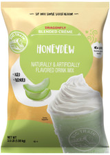 Big Train's Dragonfly Honeydew Blended Crème Frappe Mix uses the fresh taste of honeydew in a creamy base that ensures smooth, consistent texture. Calm and chilled-out honeydew melon stars in our creamy base that contains carefully blended ingredients for smooth, consistent texture. Sweet and subtle, our Honeydew Blended Creme Frappe will delight those who seek new and flavorful adventures! Pair it with banana, berries or chocolate for a twist on one of nature's most popular fruits. For an indulgent creamy finish, top with a dollop of whipped cream. Serve hot, iced, or blended.
