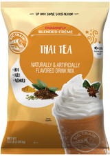 Invigorate and indulge your senses with the exotic flavor of Big Train's Dragonfly Thai Tea Blended Creme Frappe Mix! We source the finest ingredients for a gourmet taste that will transport your taste buds to new horizons! Refreshing black tea stars in our creamy base made with a delicious blend of ingredients to deliver smooth, consistent texture. Exotic yet familiar, our caffeinated Thai tea blend is the perfect pick-me-up for those who crave the unusual. For an indulgent creamy finish, top with a dollop of whipped cream.