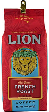 From Hawaii, land of volcanoes and lava flows, comes LionFrench Roast Coffee. This French Roast is intense. Full-bodied. It has a delicious dark roast coffee finish. But do know this... this is a bold, snappy and aggressive classic French Roast. Perfect for those who like a little attitude in their cup! Roast:Dark Roast
