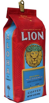 LION Macadamia Coffee is an Island favorite. Has a more robust Macadamia Nut Flavor than Lion Coffee's Classic Macadamia Nut Coffee. The coffee beans are roasted slightly darker than the original. Brewed, this Macadamia Coffee has a very rich buttery nutty Macadamia flavor. Roast:Light Medium Roast