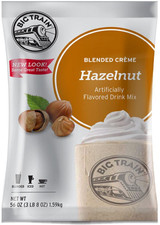Big Train Hazelnut Blended Crème Frappe Mix is a carefully crafted blend that creates a delicious, nutty treat with authentic taste. Nutty and sweet, our delicious Hazelnut Blended Creme Frappe Mix will delight on its own, or customize and indulge dessert cravings and top with whipped cream and a chocolate-covered espresso bean. Serve hot, iced, or blended.
