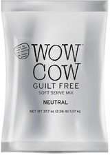 Looking for a quality plain low calorie soft serve mix? Try Big Train's Wow Cow Guilt Free Neutral soft serve mix. It is the ideal base to help you make delicious sugar-free frozen desserts. With only 12 calories per fl oz, only 5g net carbs (based on a 4 fl oz serving), fat free*, no sugar added, your customers will love this delicious lower calorie alternative to ice cream, providing 33 1/3 percent fewer calories (45 calories per serving) than our regular Wow Cow soft serve products (60 calories per serving). Offer exciting gourmet sugar free soft serve items on your menu! Add DaVinci Gourmet sugar free syrups to make virtually unlimited soft serve menu creations. Imagine sugar free Cookies and Cream or Toasted Marshmallow soft serve. The options are endless.