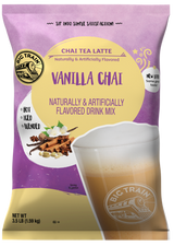 Our Big Train Vanilla Chai Tea Latte Mix brings together just the right amount of sweet and spicy black tea, honey, vanilla and spices, creating the perfect cup of chai tea latte frappe. This mix can be used to create hot, cold and blended beverages. Just add water, ice and a blender to create the perfect iced chai tea latte frappe, or simply mix with hot water for the perfect cup of chai. Craft your next chai beverage with Big Train Vanilla Chai Tea Latte Mix.