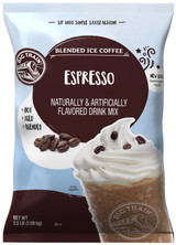 Big Train Espresso Blended Ice Coffee Frappe Mix is one of the easiest ways to mix-up a traditional iced coffee frappe. All that's needed is water, ice and a blender! This Big Train beverage mix is a blend of the finest ingredients and a signature creamy base with the taste of Italian espresso. It's the perfect morning or afternoon pick-me-up. Bon appetite! Serve hot, iced, or blended.