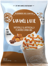 Big Train Caramel Latte Blended Ice Coffee Frappe Mix is an easy way to craft one of your favorite frappe flavors. We use the finest Arabica coffee, then add rich caramel flavor and a dash of cocoa to our creamy base. Try it on its own, or get creative and customize with add-ins to enhance the rich caramel and cocoa notes. All you need is water, ice and a blender! Serve hot, iced, or blended.