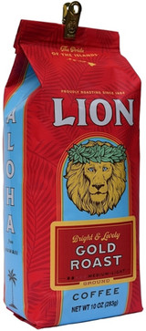 LION Gold Coffee is a classic light roast coffee and makes a great breakfast coffee. Which is another way of saying there's some real caffeine kick in this bag and you might not want to drink it before bed. This LION Coffee brew is bright in the cup, with a mellow taste and sweet delicate and slightly citrus finish. Roast:Light-Medium Roast