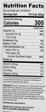Ingredients: Sugar, Coconut Oil, Corn Syrup Solids, Nonfat Milk, Peanut Flour, Cocoa Powder (processed with alkali), Coffee, Sodium Caseinate (a milk derivative), Natural and Artificial Flavors, Caramel Color, Silicon Dioxide (anti-caking agent), Sodium Citrate, Mono- and Diglycerides, Salt, Carageenan Gum, Xanthan Gum, Guar Gum, Sodium Aluminosilicate (anti-caking agent).
