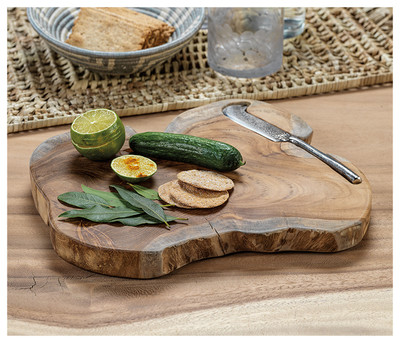 Root Serving Board with Cheese Knife