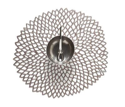 Chilewich Placemat-Dahlia Round-Gunmetal