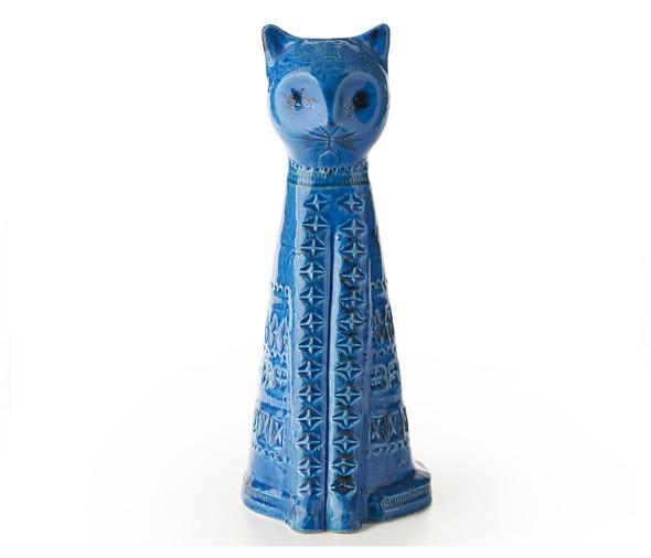 """Bitossi 13.5"""" Tall Cat-Rimini Blu"""