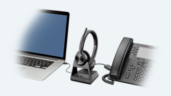 Poly Savi 7320 Office Connected to Laptop and Phone