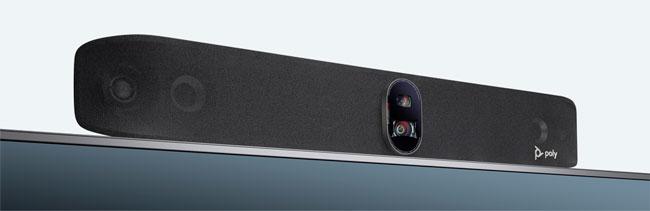 Poly Studio X70 Video Bar Mounted Above Display