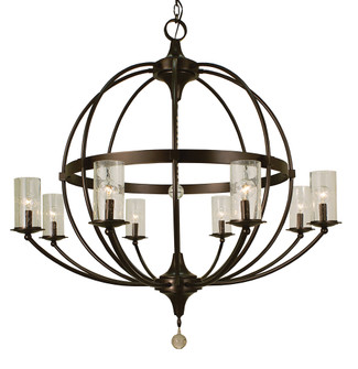 8-Light Mahogany Bronze/Frosted Glass Compass Foyer Chandelier (84|1078 MB/F)