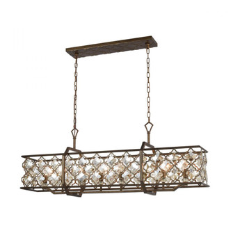 Armand 8-Light Linear Chandelier in Weathered Bronze with Amber Teak Crystals (91 31099/8)