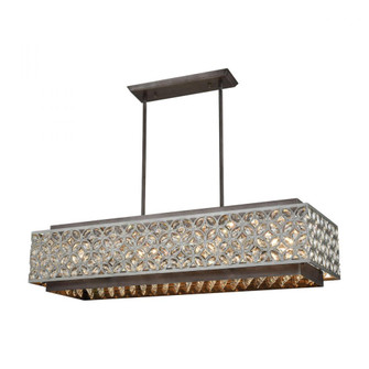 Rosslyn 8-Light Linear Chandelier in Weathered Zinc and Matte Silver with Crystal and Metalwork (91 12165/8)