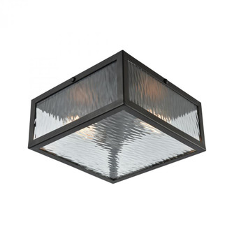 Placid 2-Light Flush Mount in Oil Rubbed Bronze with Clear Ripple Glass (91 31785/2)