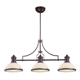 Chadwick 3-Light Island Light in Oiled Bronze with White Glass (91 66635-3)