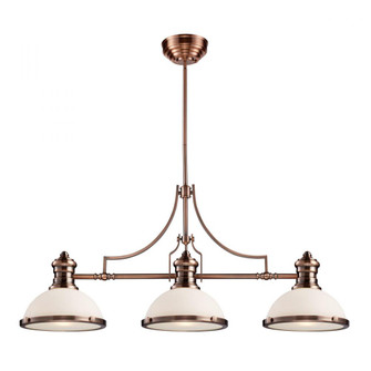 Chadwick 3-Light Island Light in Antique Copper with White Glass (91 66245-3)