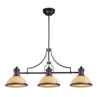 Chadwick 3-Light Island Light in Oiled Bronze with Off-white Glass (91 66235-3)