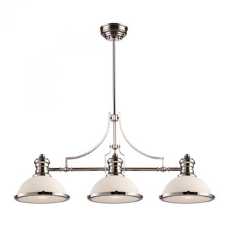 Chadwick 3-Light Island Light in Polished Nickel with Gloss White Shade (91 66215-3)