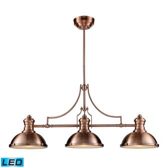 Chadwick 3-Light Island Light in Antique Copper with Matching Shade - Includes LED Bulbs (91|66145-3-LED)