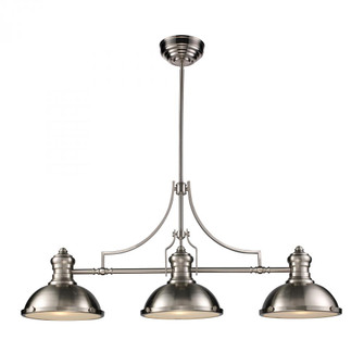 Chadwick 3-Light Island Light in Satin Nickel with Matching Shade (91|66125-3)