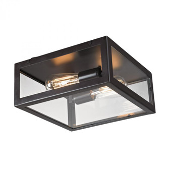 Parameters 2-Light Flush Mount in Bronze with Clear Glass (91 63021-2)