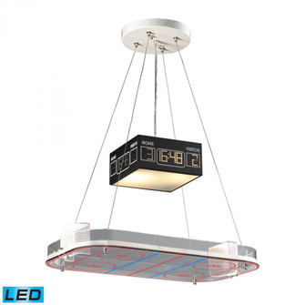 Novelty 2-Light Island Light in Silver with Hockey Arena Motif - Includes LED Bulbs (91 5138/2-LED)