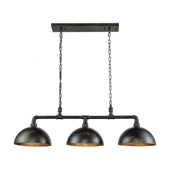 Mulvaney 3-Light Island Light in Black and Brushed Gold Accents with Matching Shades (91|18256/3)