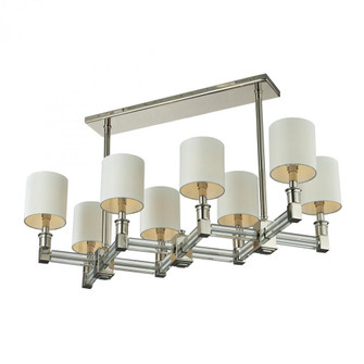 Berwick 8-Light Island Light in Polished Nickel with White Shades (91 83021/8)