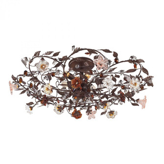Cristallo Fiore 6-Light Flush Mount in Deep Rust with Clear and Amber Florets (91 7047/6)